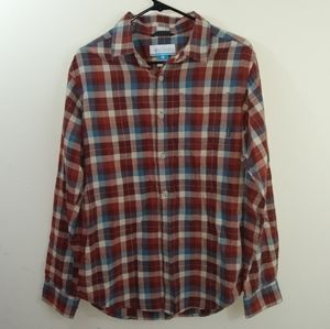 Men's S Columbia red plaid regular fit button down